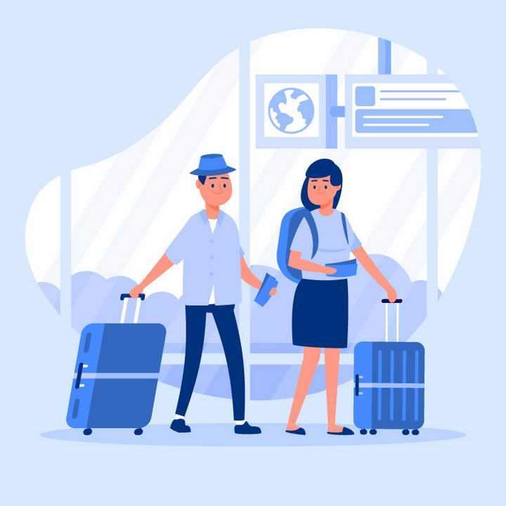 扁平化插画风格正在机场候车大厅等待出行的旅客图片免抠素材