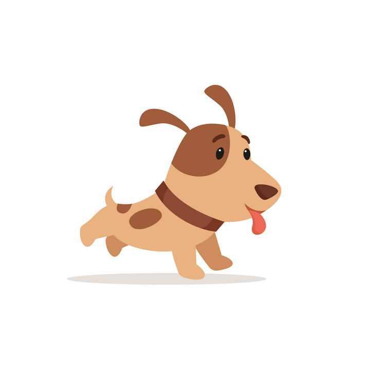 卡通可爱风格奔跑的宠物狗小狗图片免抠素材