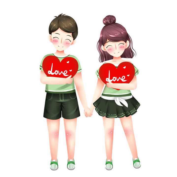 可爱卡通风格手牵手抱着红心的情侣情人节图片免抠素材