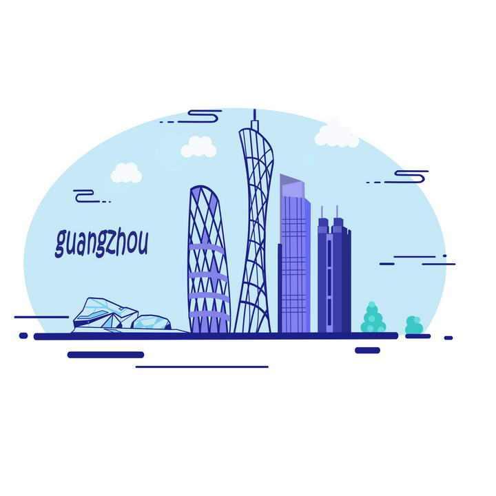 MBE风格紫色广州标志性建筑图案图片免抠素材