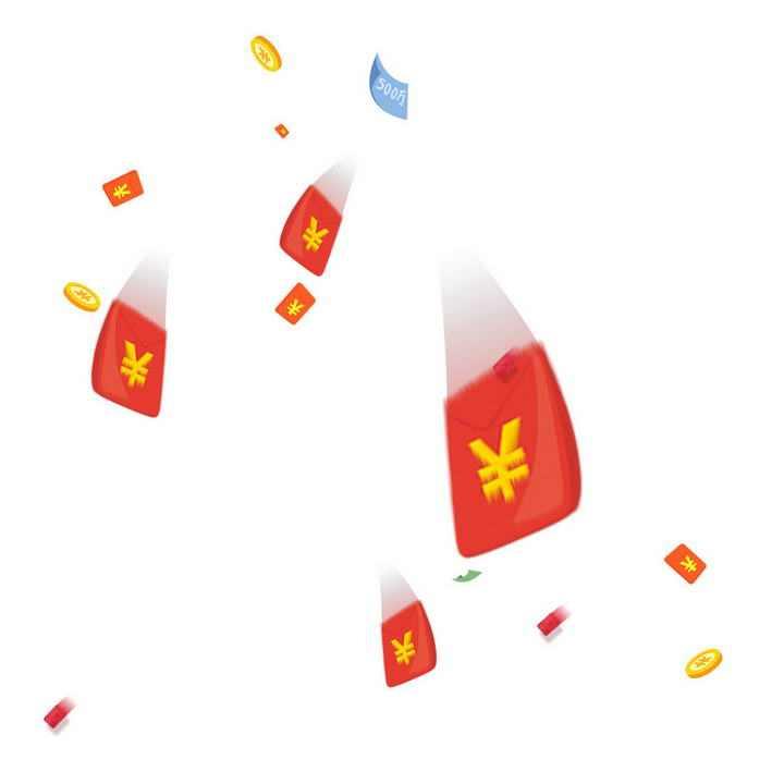高速飞行中的红包金币装饰图片免抠素材