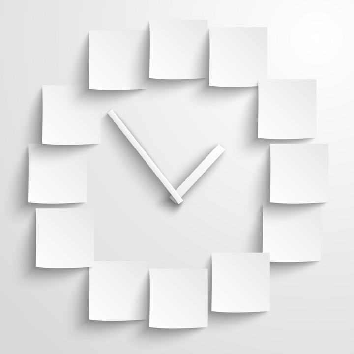 白纸剪成的空白时钟挂钟图片免扣素材