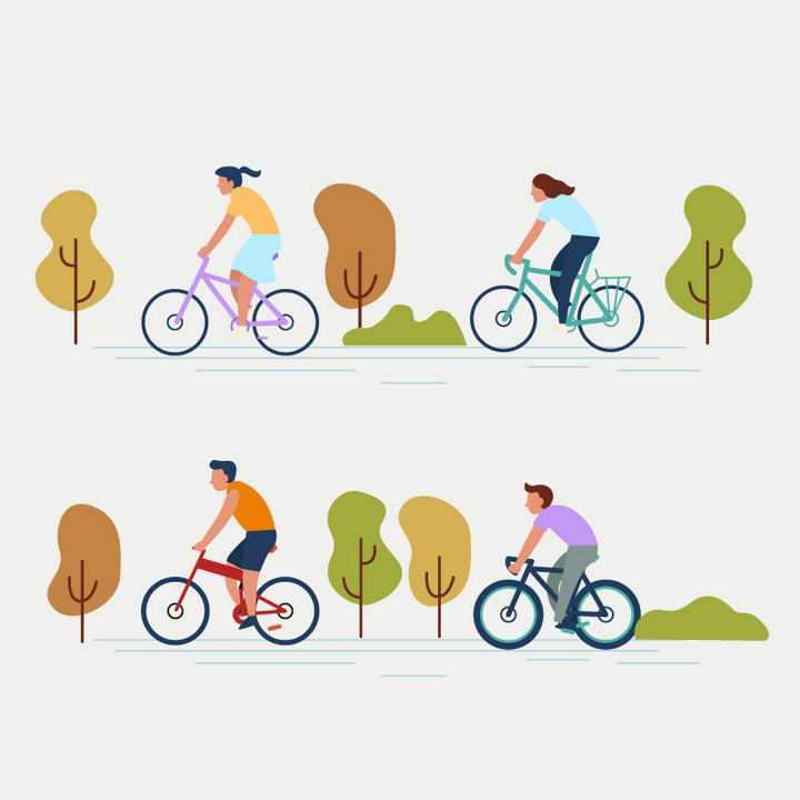 四款扁平化风格骑自行车的年轻人图片免抠素材