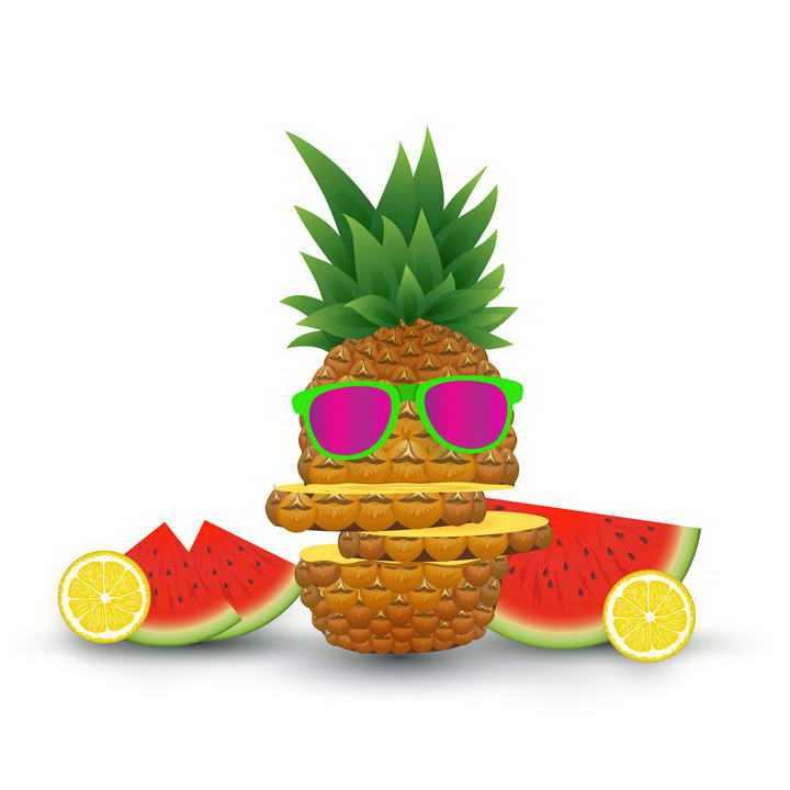 创意带着墨镜的菠萝西瓜橙子等热带水果图片免扣素材