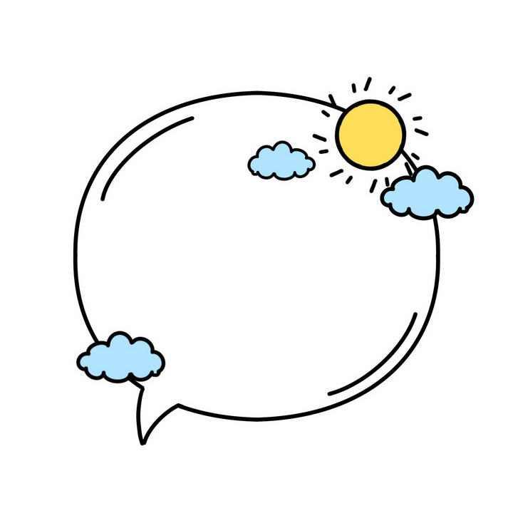 线条卡通手绘风格太阳云朵文本框边框图片免抠素材