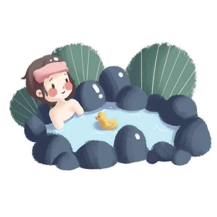 卡通手绘插画风格正在泡温泉的小女孩图片免抠素材