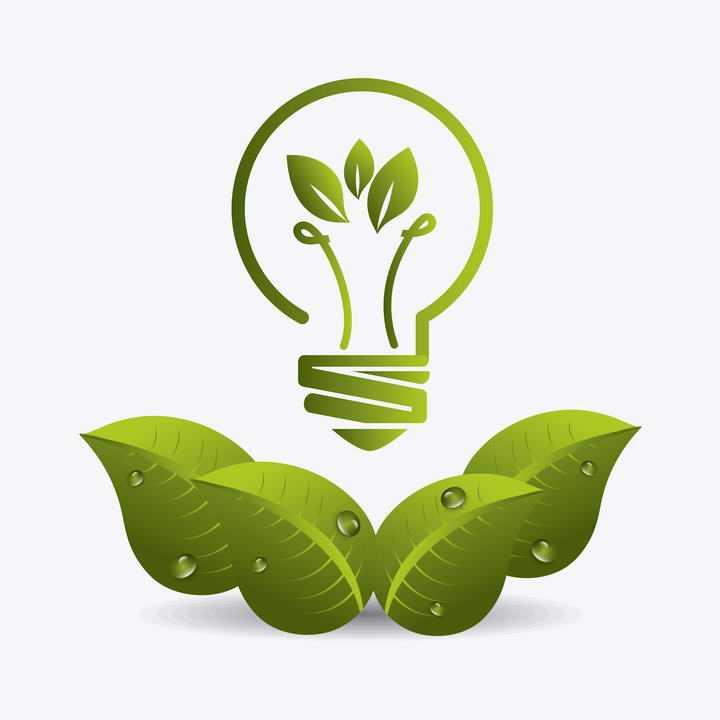 绿叶和创意抽象灯泡组成的节能环保主题图片免抠素材