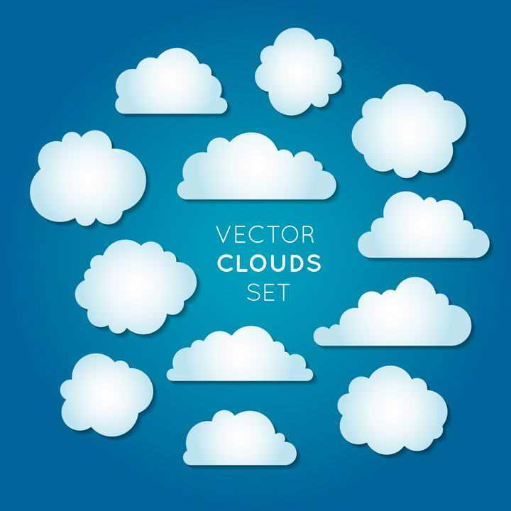 12款简约风格的手绘卡通白云云朵图片免抠素材