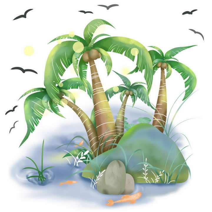 手绘风格光斑效果海岛椰子树风景图图片免抠素材