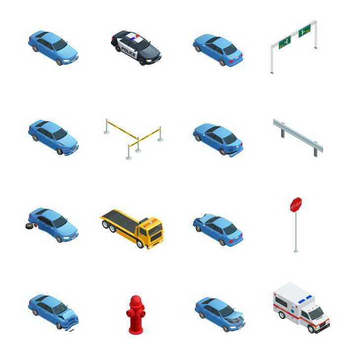 16款2.5D风格各类汽车警车救护车路标交通类图片免扣素材
