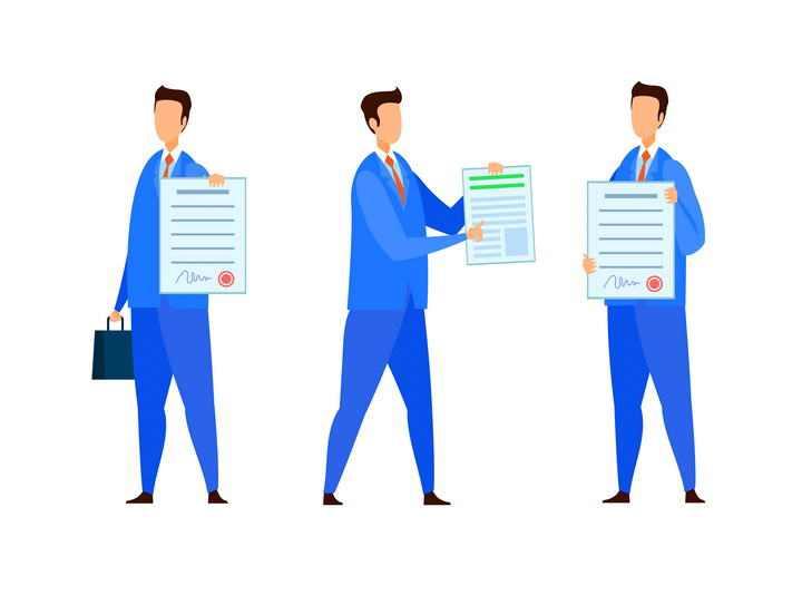 三款正在展示合同的扁平插画风格商务人士图片免抠素材