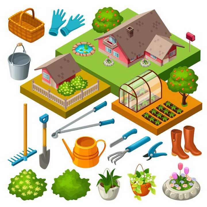 各种农业工具农场设施图片免抠素材