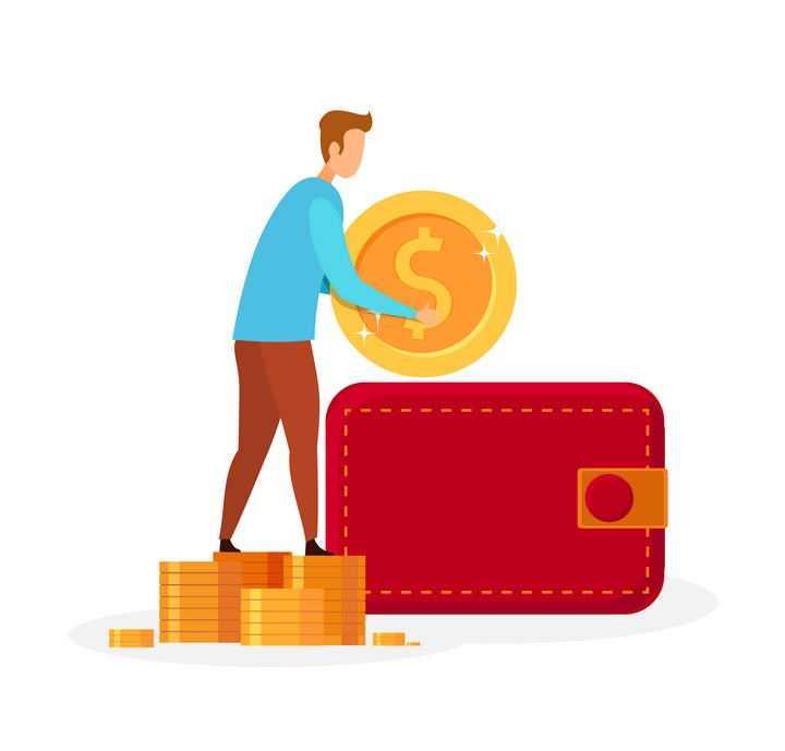 扁平化风格把金币金钱放进钱包的人金融理财图片免抠素材