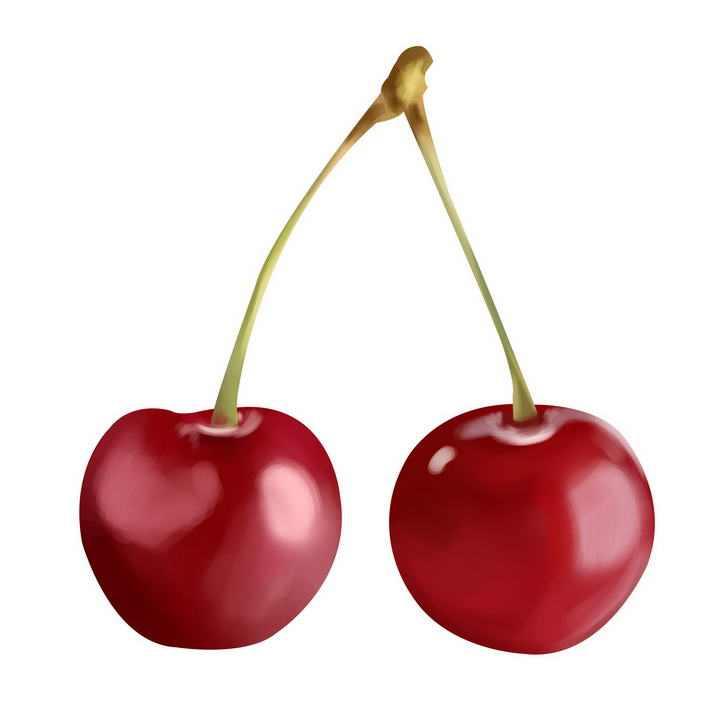 两颗红色的樱桃车厘子水果图片免抠素材