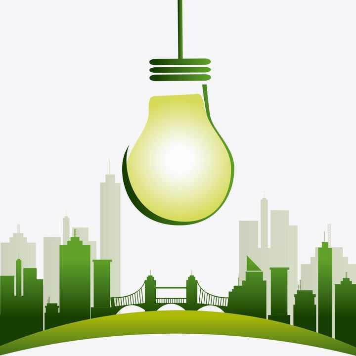 绿色城市剪影和灯泡节能环保图片免抠素材