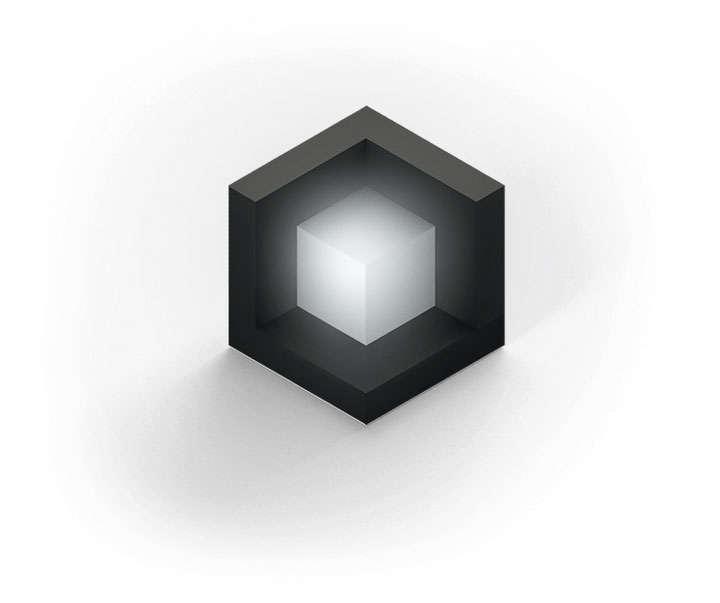 抽象黑色立体方块中间的白色的立方体图片免抠素材
