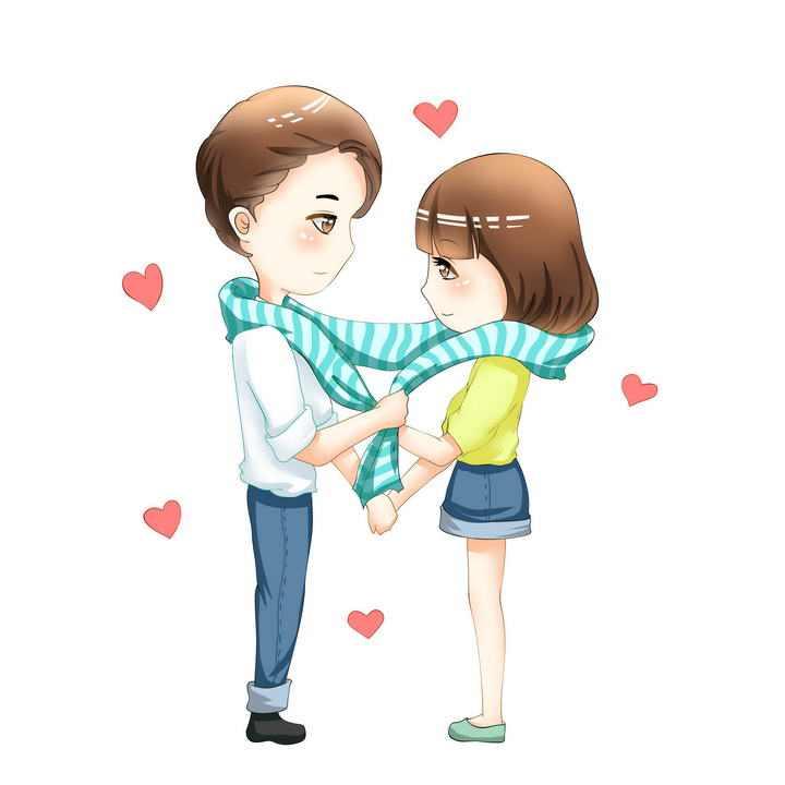 手绘卡通漫画风格给女朋友围围巾的男孩情侣情人节图片免抠素材