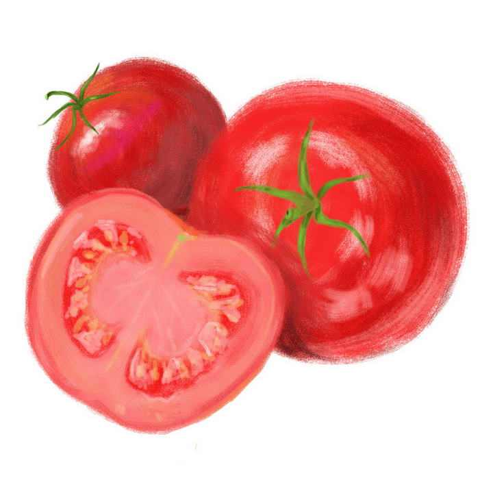 水彩画风格西红柿水果图片免抠素材