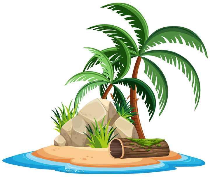 卡通风格海岛上的石头堆和椰子树图片免抠素材