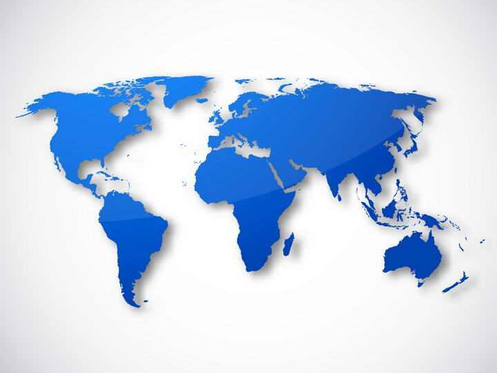 蓝色带阴影世界地图图片免抠素材