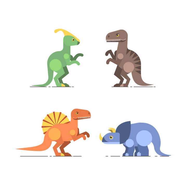 扁平化风格四种恐龙古生物图片免抠素材