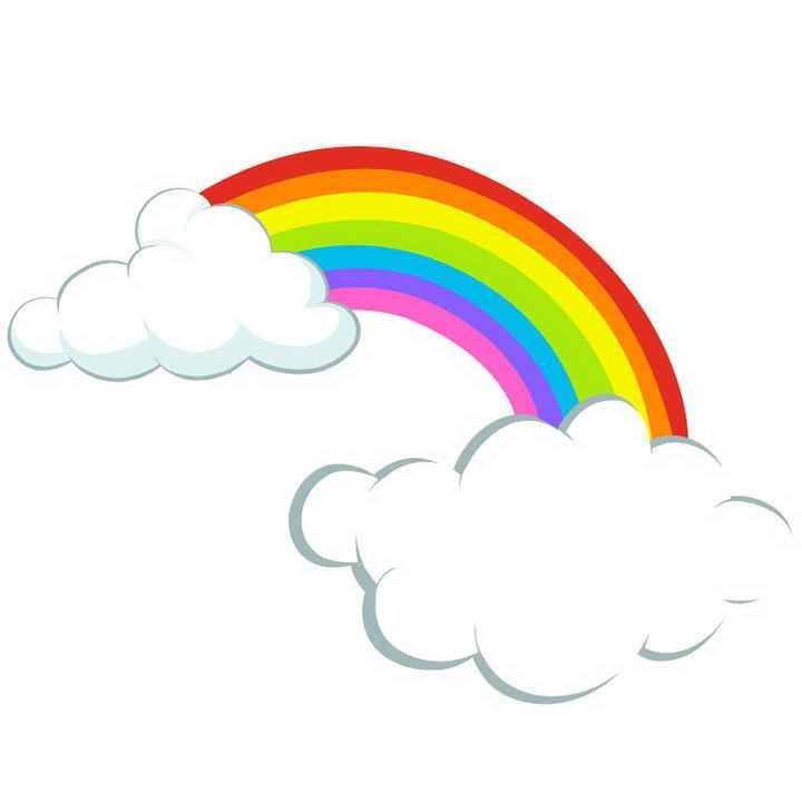 手绘风格白色的云朵上的七彩虹图片免抠素材