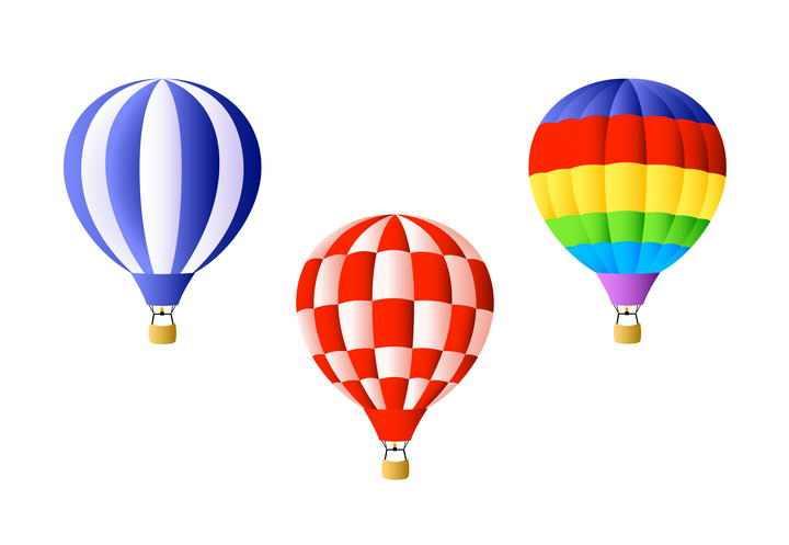 三款彩色条纹格子热气球图片免抠素材