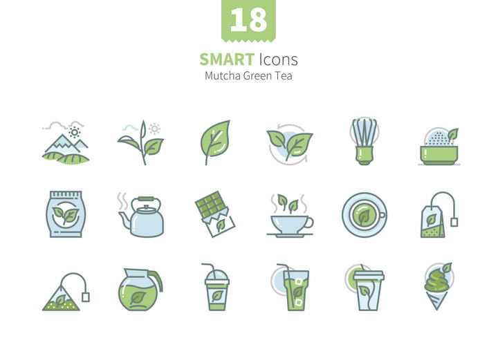 18款绿色茶叶饮茶类icon图标图片免抠素材