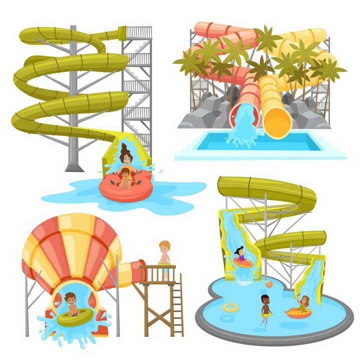 四款游乐场设施滑水梯图片免扣素材