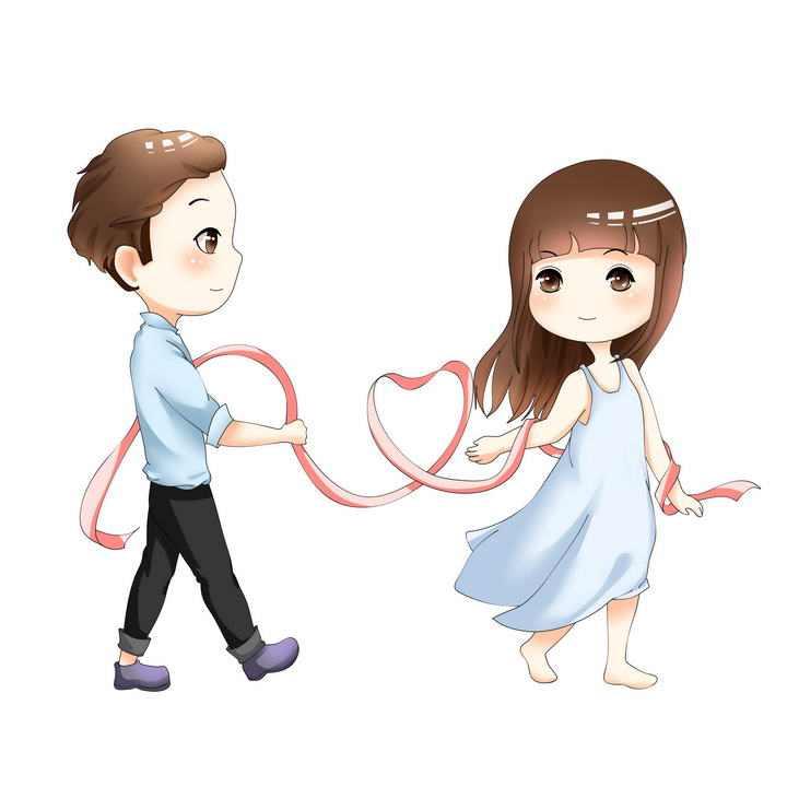 卡通插画风格情侣手上拿着心形丝带情人节图片免抠素材