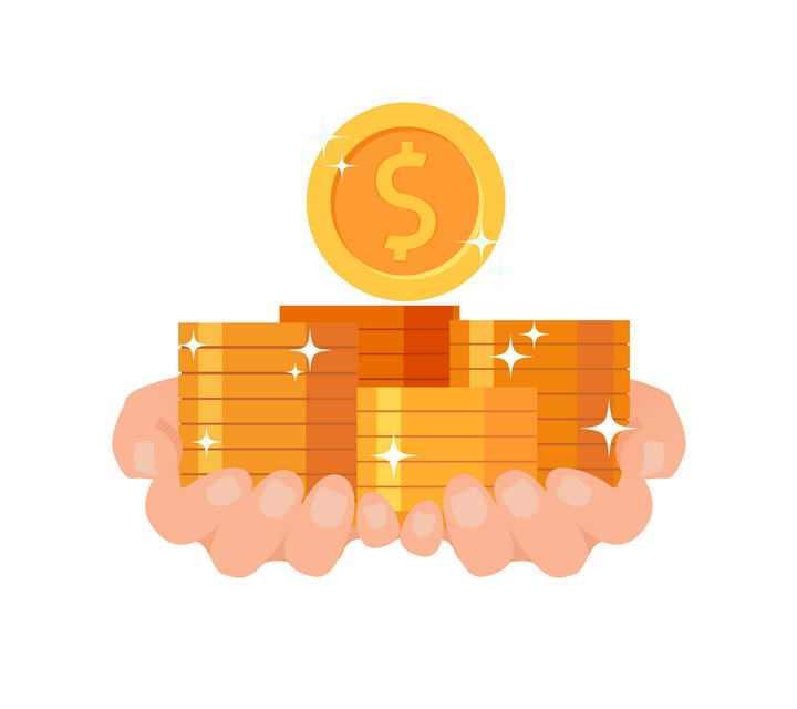 扁平插画风格手捧金币的金融理财配图图片免抠素材