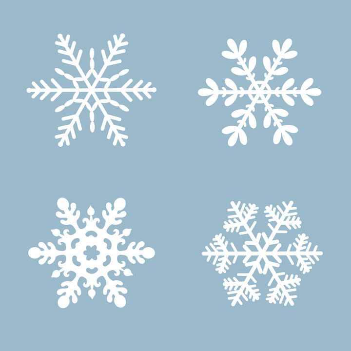 四款白色雪花图案图片免抠素材