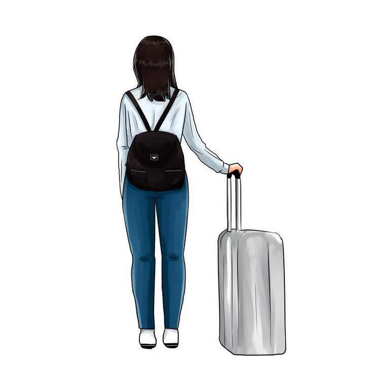 手绘风格拖着行李箱的女孩背影旅行图片免抠素材