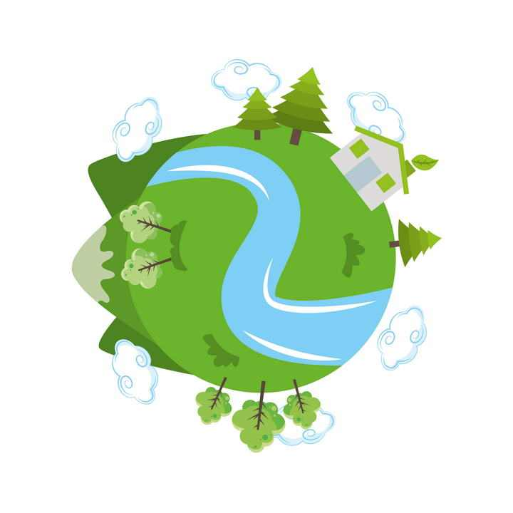 卡通手绘风格绿色地球环保主题图片免抠素材