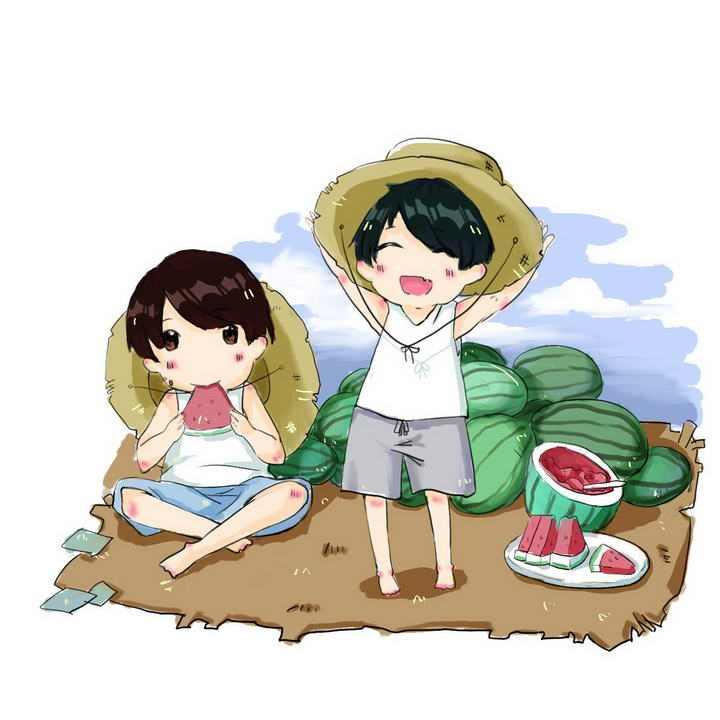 手绘插画风格夏天在田地里吃西瓜的小朋友图片免抠素材