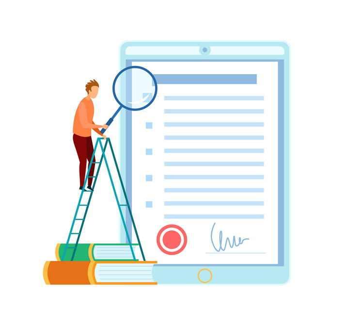 扁平插画风格爬在梯子上拿着放大镜看文本的商务人士图片免抠素材