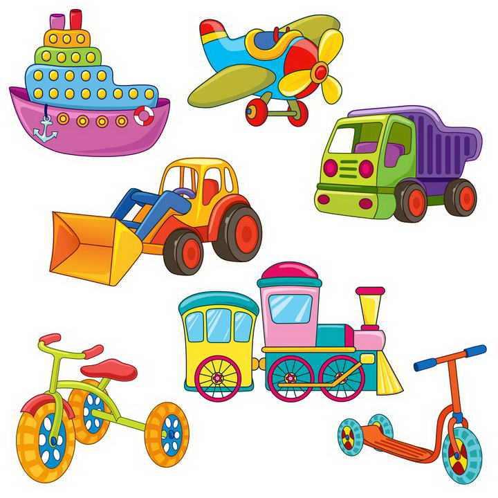 手绘卡通风格各种儿童玩具图片免扣素材