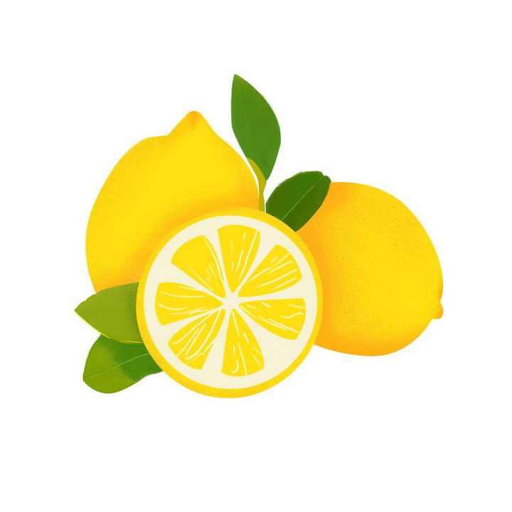 手绘风格切开的黄柠檬水果图片免抠素材
