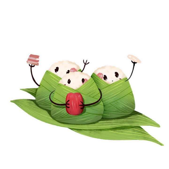 卡通可爱端午节粽叶上的甜粽肉粽粽子图片免抠素材