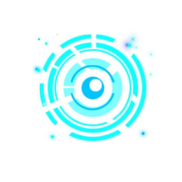 蓝色科幻风格圆环同心圆装饰图片免抠素材