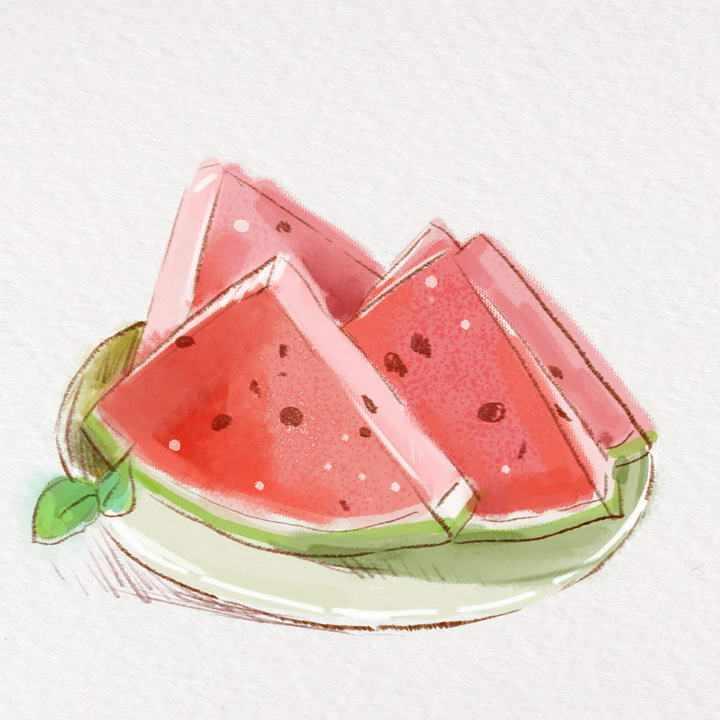 彩色水彩画手绘风格夏日水果西瓜图片免抠素材