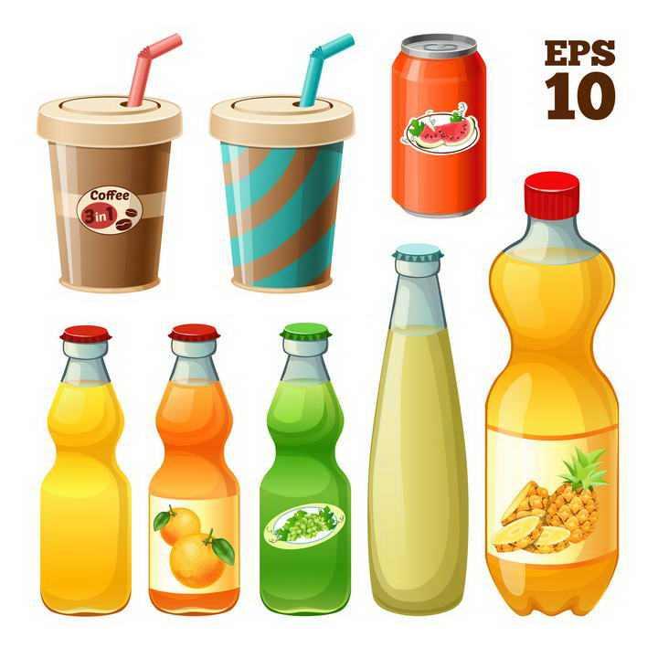 各种果汁咖啡可乐橙汁等饮料图片免抠素材