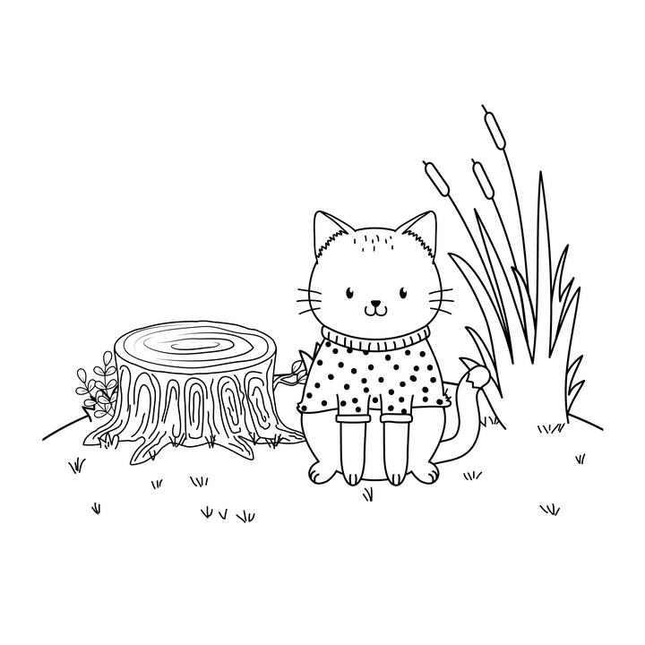 手绘风格穿着衣服的宠物猫猫咪简笔画图片免抠素材