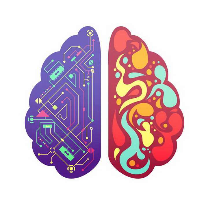 创意大脑左脑右脑电路大脑图片免扣素材