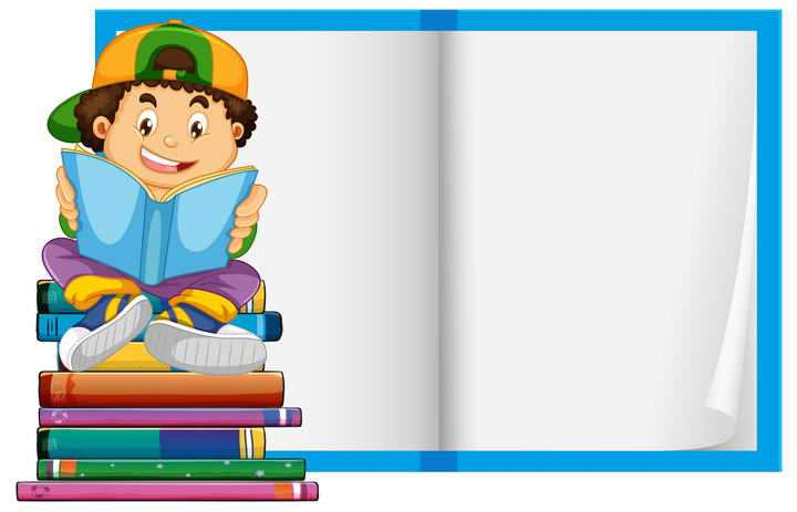 打开的书本卡通学生儿童节文本框图片免扣素材