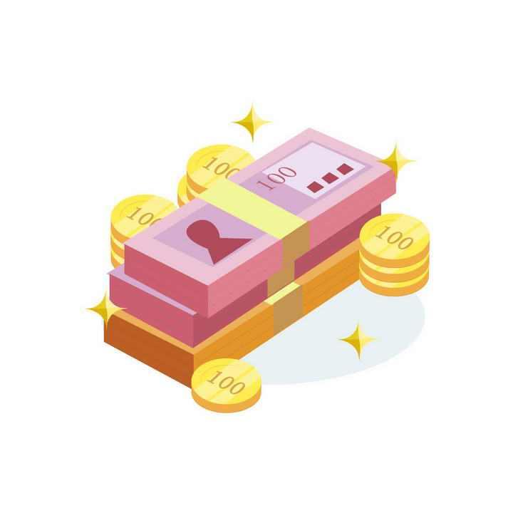 2.5D插画风格一叠钞票纸币和金币金融配图图片免抠素材