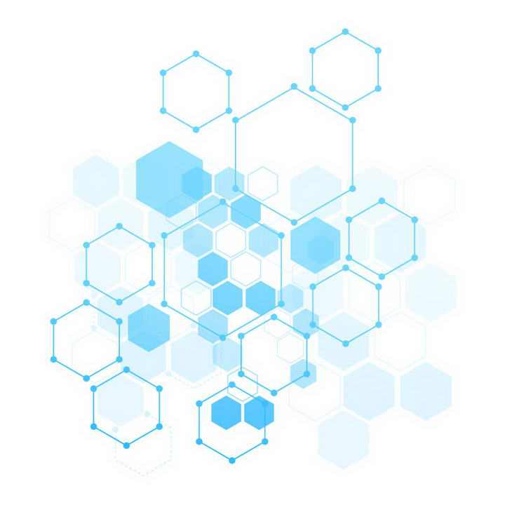半透明叠加风格蓝色六边形装饰图片免扣素材