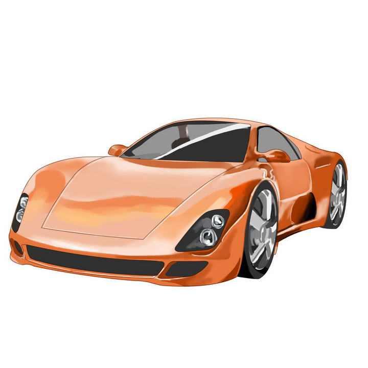 手绘风格橙色超级跑车图片免抠素材