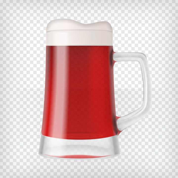一杯冒着气泡的带把手的红色玻璃杯啤酒杯图片免抠素材