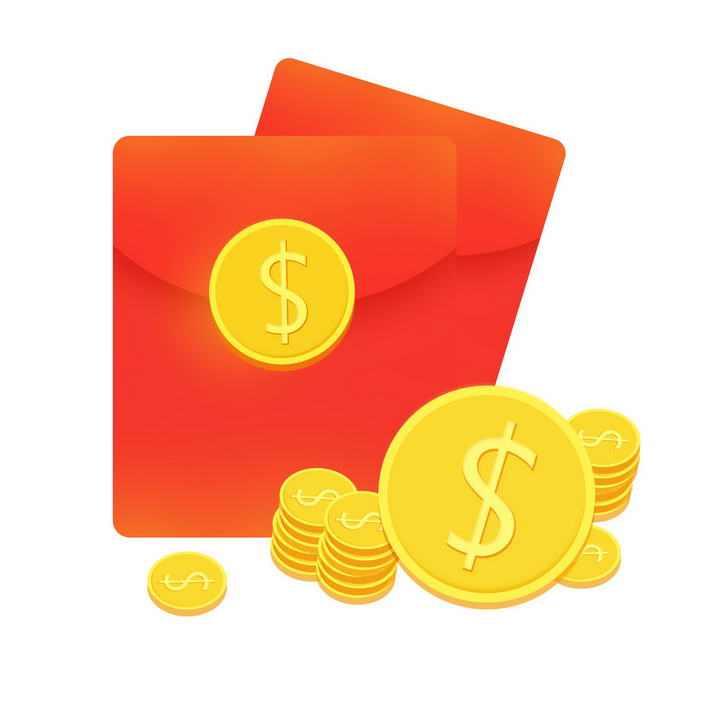 高清红包和金币图案促销活动图片免抠素材